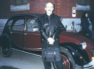 Frank Kellerman with a magnificaent Citroen Deux Chevaux. Thanks