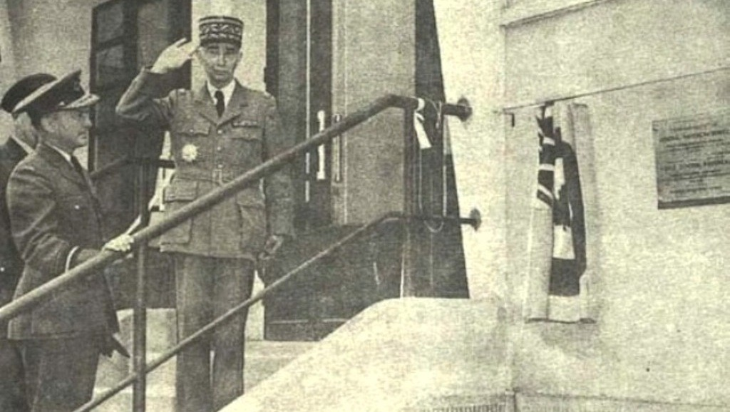 General navereau with AVM Godwin at the opening of the first school (1957)